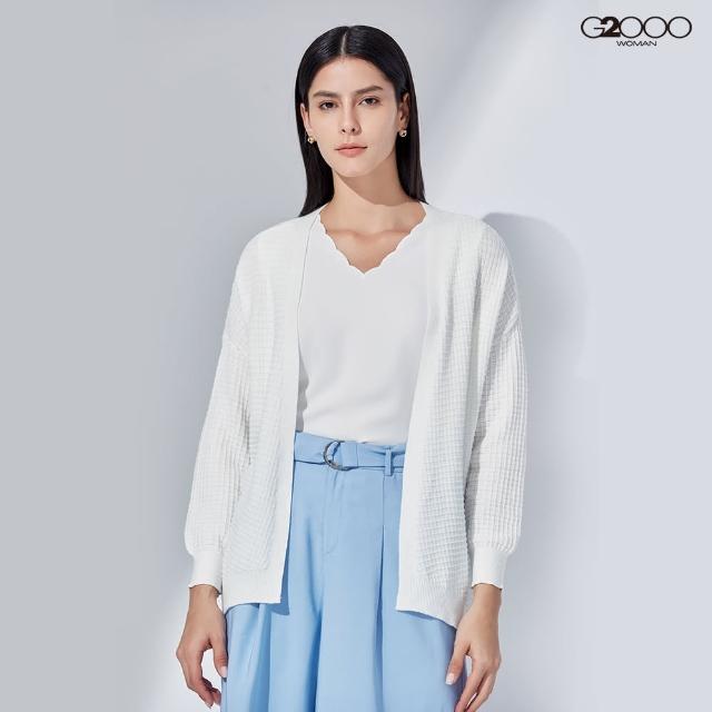 【G2000】時尚素面縮口針織外套-白色(1129111001)