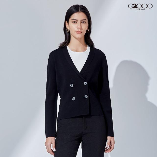 【G2000】時尚素面雙排釦針織外套-黑色(1129100599)
