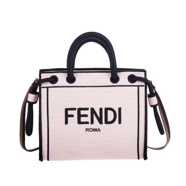 【FENDI 芬迪】新款刺繡FENDI ROMA帆布手提/斜背包(mini/霧粉)