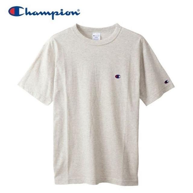 【Champion】BASIC T-SHIRT 男款米色小LOGO短袖上衣