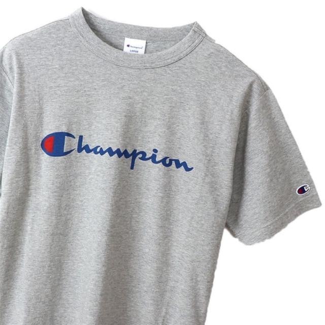 【Champion】男款藍色草寫LOGO灰色短袖上衣-NO.C3-P302-070