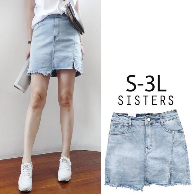 【SISTERS】韓式洗色刷痕彈力牛仔褲裙 短裙/S-3L(牛仔裙/褲裙/短裙/顯瘦)