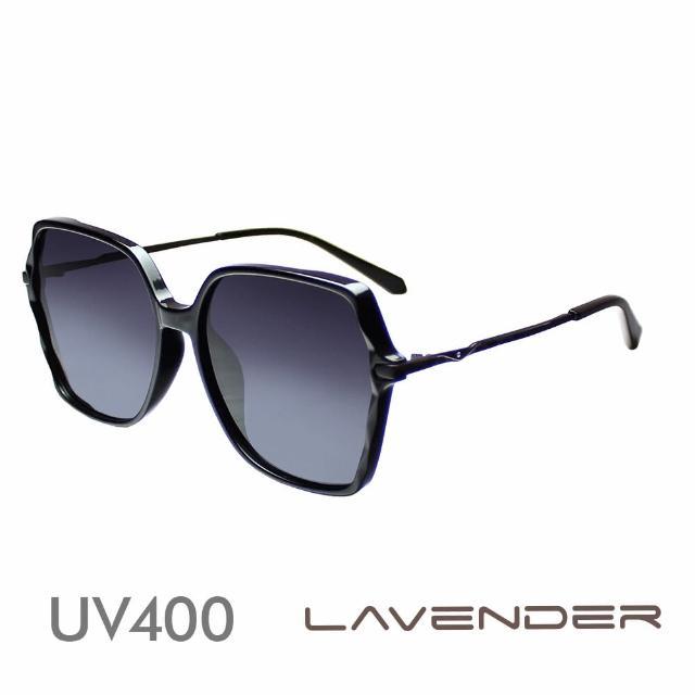 【Lavender】時尚幾何高雅小水鑽鏡腳 神秘黑紫 12140-C1(偏光太陽眼鏡)