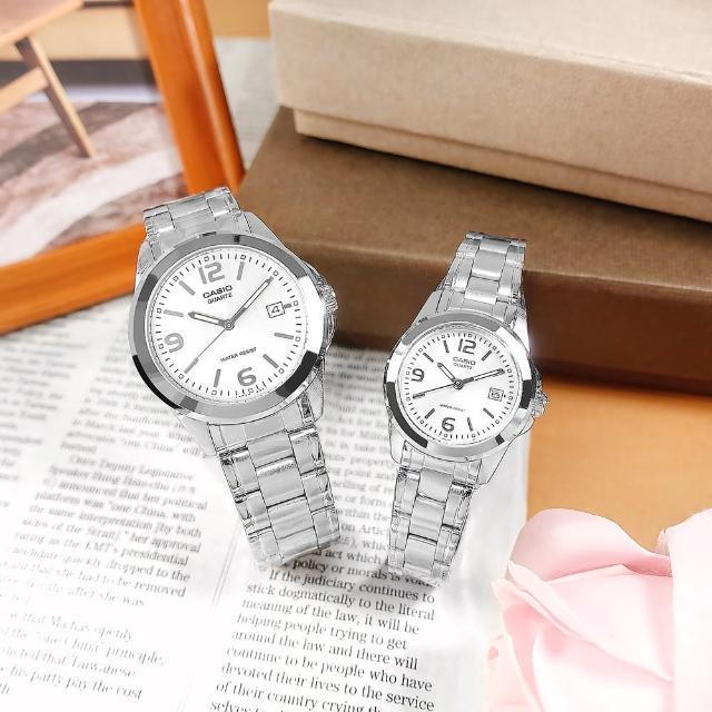 【CASIO 卡西歐】簡潔設計 數字刻度 不鏽鋼手錶 情侶對錶 銀色 38mm+27mm(MTP-1215A-7A.LTP-1215A-7A)