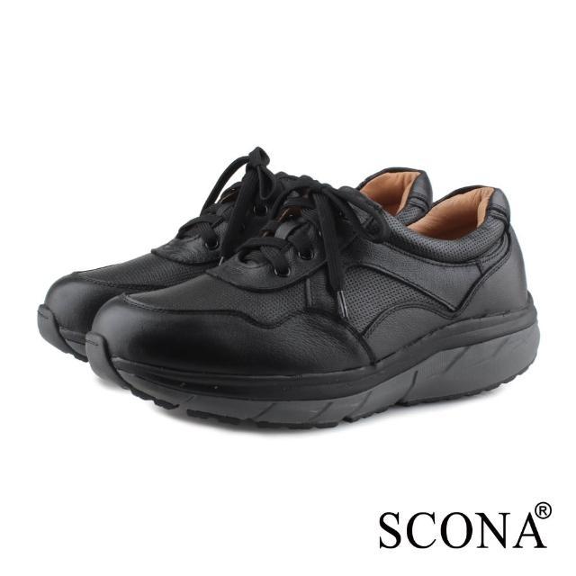【SCONA 蘇格南】全真皮 舒適減壓機能健走鞋(黑色 1283-1)