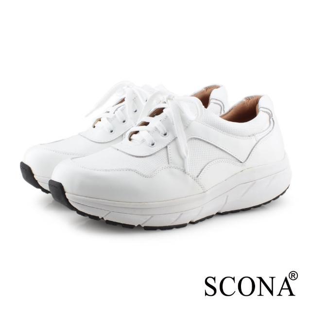 【SCONA 蘇格南】全真皮 舒適減壓機能健走鞋(白色 1283-2)