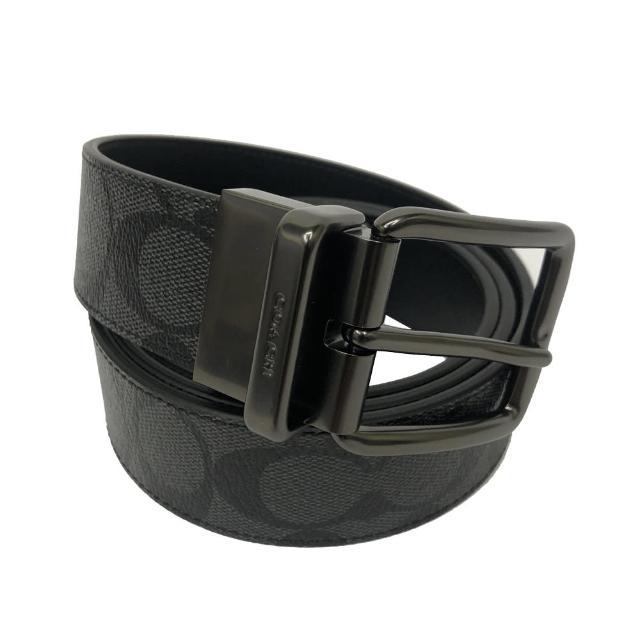 【COACH】C LOGO男款中性寬版皮帶禮盒(PVC黑灰)