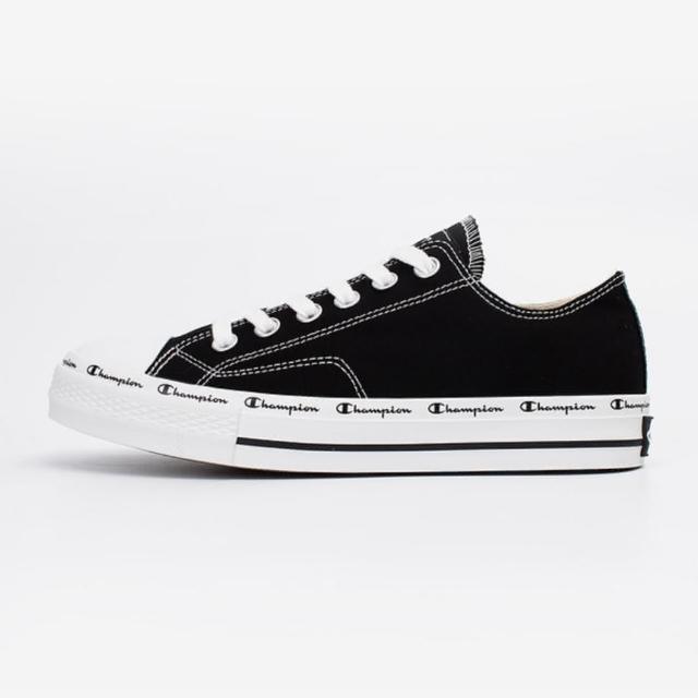 【Champion】CLASSIC CP CANVAS 男女中性款黑色低筒帆布鞋-USLS-1013-11