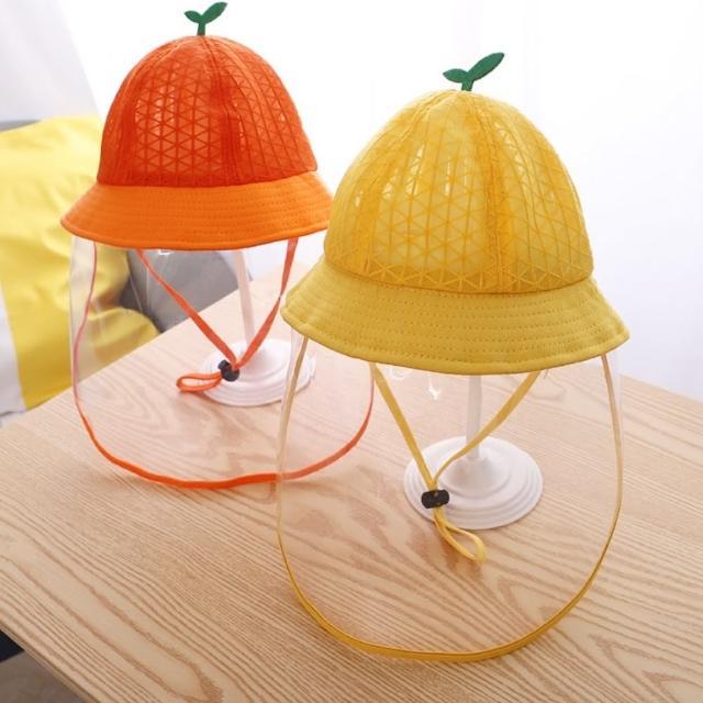 【橘魔法】小童 立體樹苗透氣網眼可拆面罩漁夫帽(防疫帽 防飛沫 遮陽圓帽 盆帽 帽子 童帽)