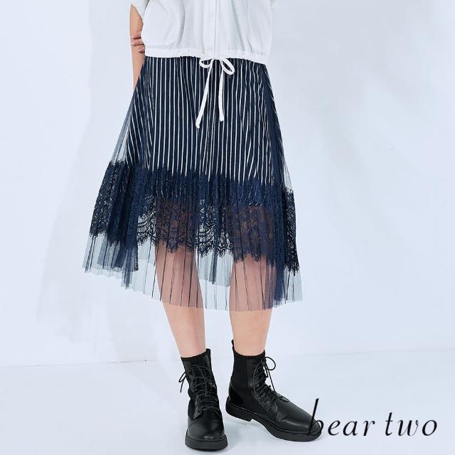 【bear two】浪漫透視感條紋蕾絲紗裙(深藍)