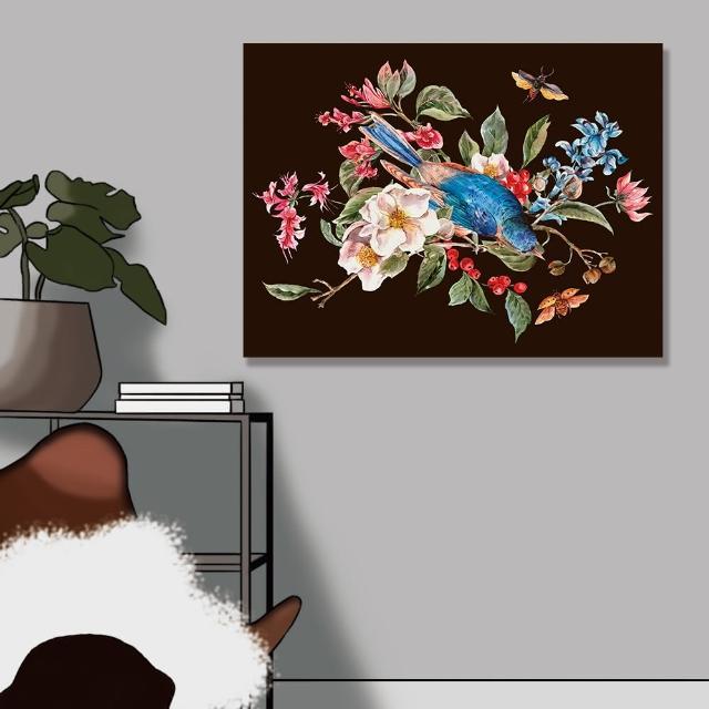 【24mama 掛畫】單聯式 油畫布 春天 復古 植物花朵 昆蟲 甲蟲 鳥 動物 手繪 無框畫-80x60cm(柔和的春天01)