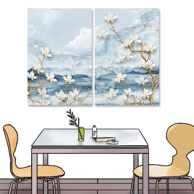 【24mama 掛畫】二聯式 油畫布 山丘 植物花卉 天空 花瓣 細枝 無框畫 時鐘掛畫-40x60cm(雲彩大白花)