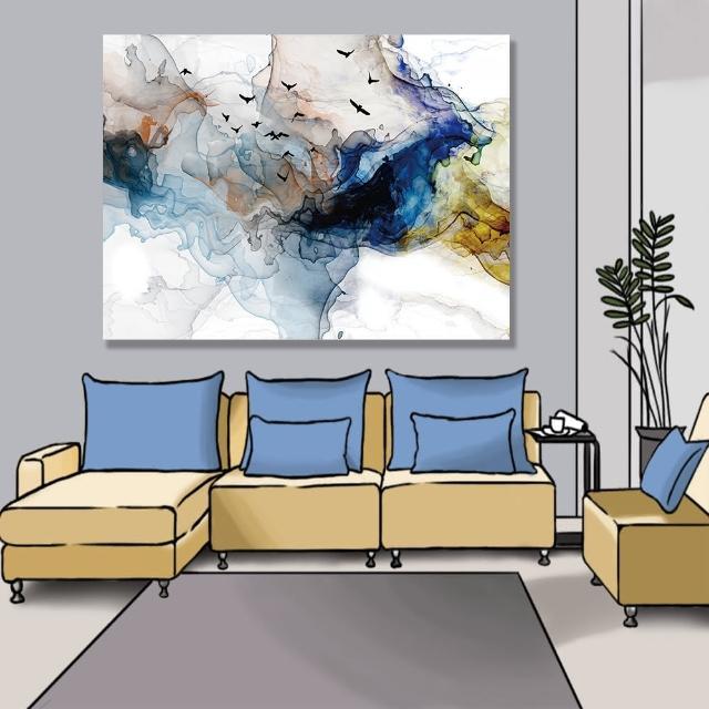 【24mama 掛畫】單聯式 油畫布 鳥 動物 抽象 現代藝術插圖 豐富多彩 無框畫-80x60cm(多色波浪煙)