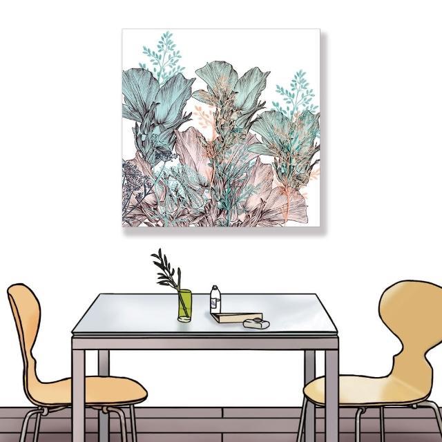 【24mama 掛畫】單聯式 油畫布 花卉 藝術插圖 柔和 華麗 優雅 無框畫-60x60cm(美麗月季花)