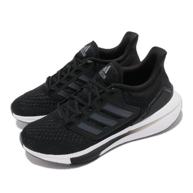 【adidas 愛迪達】慢跑鞋 EQ21 Run 運動 女鞋 愛迪達 輕量 透氣 舒適 避震 路跑 黑 白(H00544)