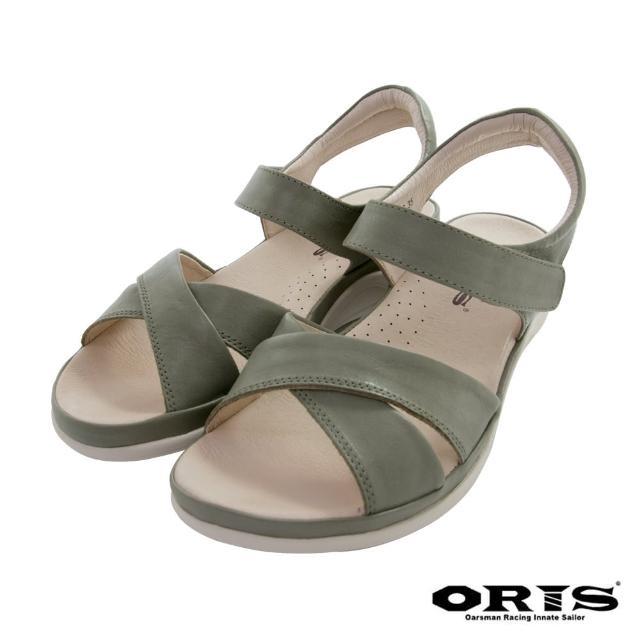 【oris 帆船鞋】牛皮魔鬼氈交叉輕便涼鞋-綠-S1415N06(拖鞋/涼鞋/真皮/耐磨)