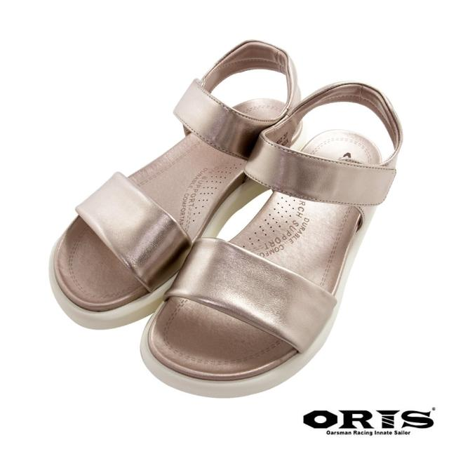 【oris 帆船鞋】時尚反光條輕便涼鞋-香檳金-S1421N02(拖鞋/涼鞋/真皮/耐磨)