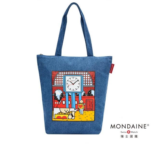 【MONDAINE 瑞士國鐵】舉牌小人聯名紀念帆布包(Swiss Image)