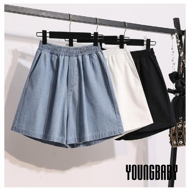 【YOUNGBABY】基本款鬆緊腰雙斜口袋牛仔短褲(共2色)