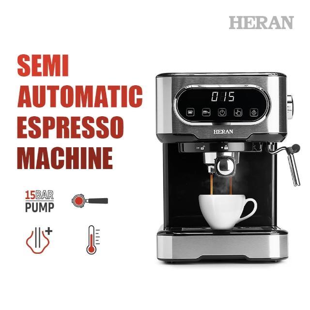 【HERAN 禾聯】LED微電腦觸控義式咖啡機(HCM-15XBE10)+不鏽鋼電動磨豆機(HCG-60K1)