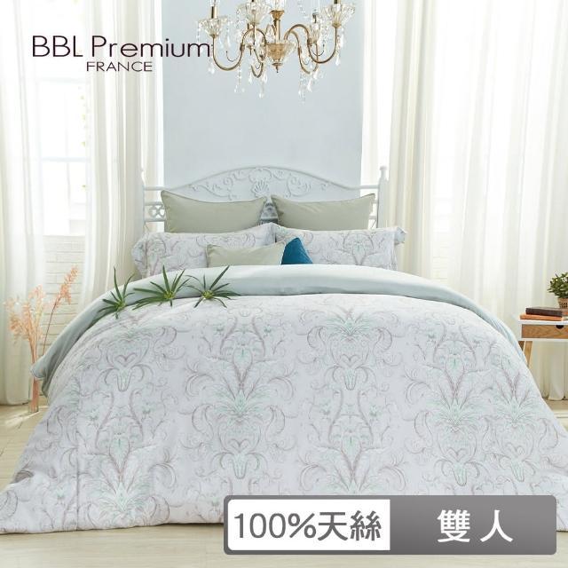 【BBL Premium】100%天絲印花床包組-爵士哈樂黛-幻彩綠(雙人)