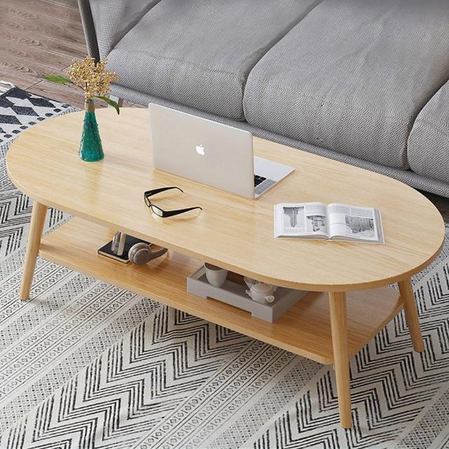 【HappyLife】雙層長圓形茶几 120cm Y10188(咖啡桌 客廳桌 大桌子 大理石桌 木紋桌 桌子 大茶几)