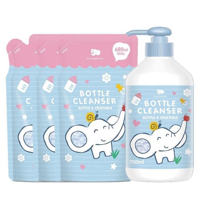 【麗嬰房】les enphants 奶瓶蔬果酵素洗潔液 無香(700ml罐裝x1+680ml補充包x3)