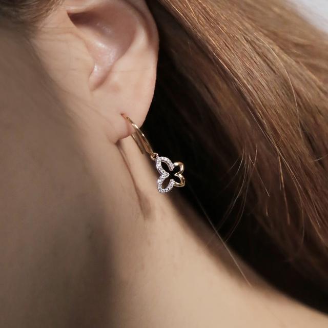 【ReModa】蝴蝶造型雙色耳環(鍍銠、18K金)