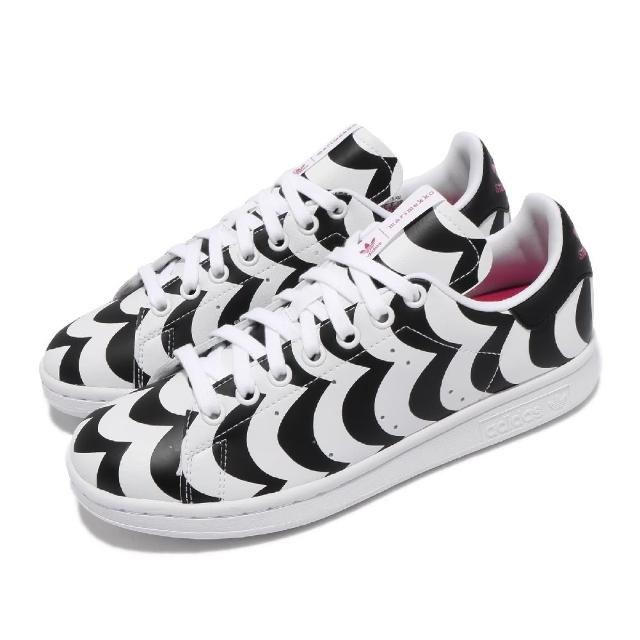 【adidas 愛迪達】休閒鞋 Stan Smith 運動 女鞋 愛迪達 聯名 藝術印花 簡約 穿搭 白 黑(H05757)