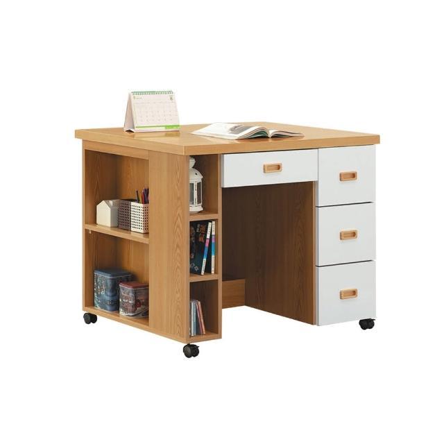 【BODEN】威森3.3尺活動式四抽書桌/多功能移動式工作桌/學生書桌