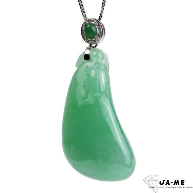 【JA-ME】天然A貨翡翠滿色芙蓉綠大福瓜18k金鑽石項鍊