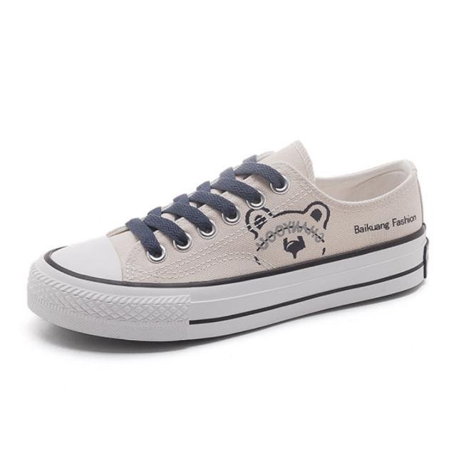 【Taroko】可愛小熊拚色平底帆布鞋(3色可選)