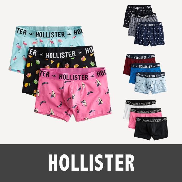 【HOLLISTER Co】海鷗 經典海鷗平口貼身四角內褲三件組-男-多色款組合(美系休閒必備內著經典款)