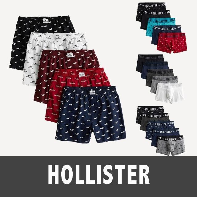 【HOLLISTER Co】海鷗 經典海鷗平口貼身四角內褲五件組-男-多色款組合(美系休閒必備內著經典款)