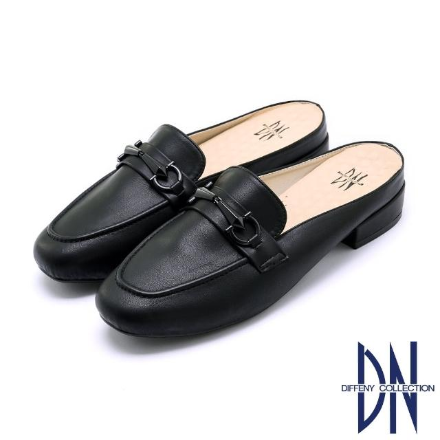 【DN】穆勒鞋_MIT百搭烤漆金屬釦低跟拖鞋(黑)