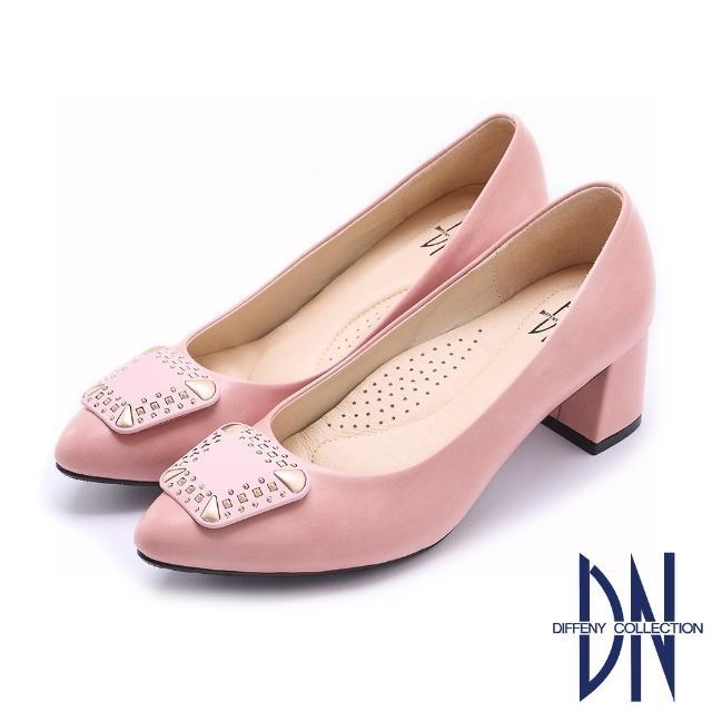 【DN】跟鞋_MIT優雅質感飾釦微尖跟鞋(粉)