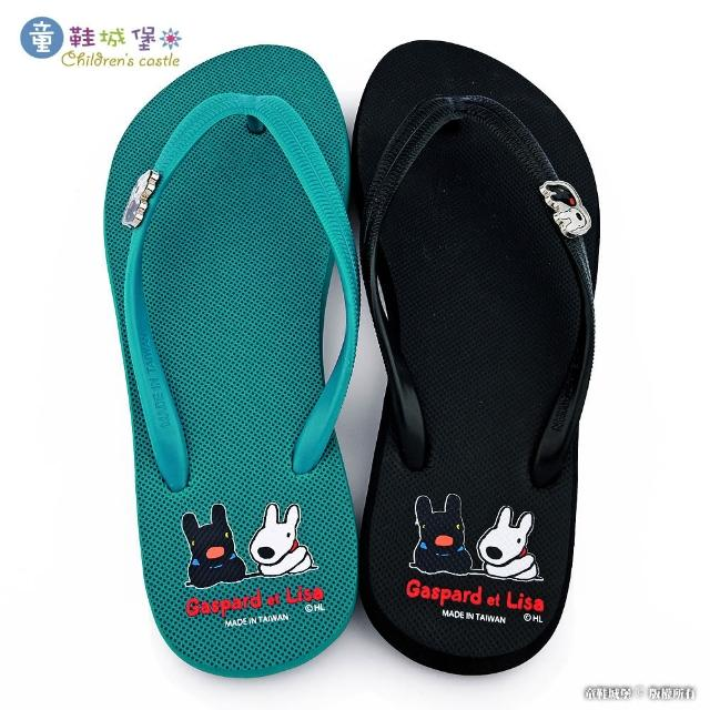 【童鞋城堡】女拖 素色夾腳拖鞋 麗莎與卡斯柏(GL2860-黑/綠 共二色)