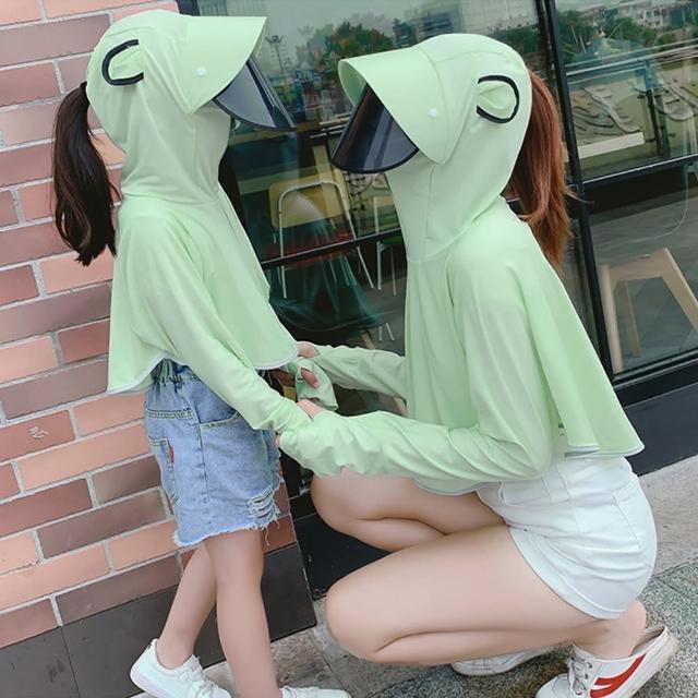 【CS22】親子冰絲薄款透氣防曬連帽外套(加長半指袖 可拆卸遮陽面罩)