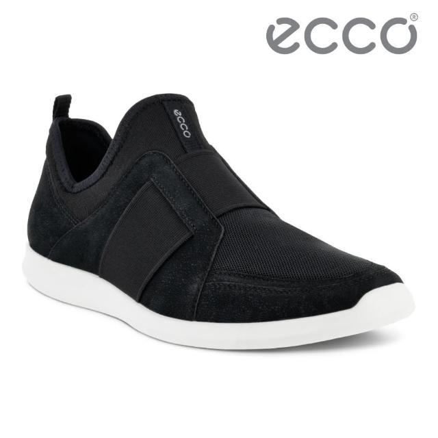 【ecco】SENSE II 輕便套入式運動休閒鞋 網路獨家 女鞋(黑色 27082351052)