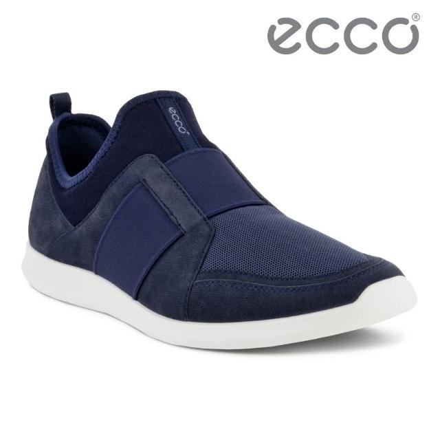【ecco】SENSE II 輕便套入式運動休閒鞋 網路獨家 女鞋(午夜藍/海軍藍 27082351647)