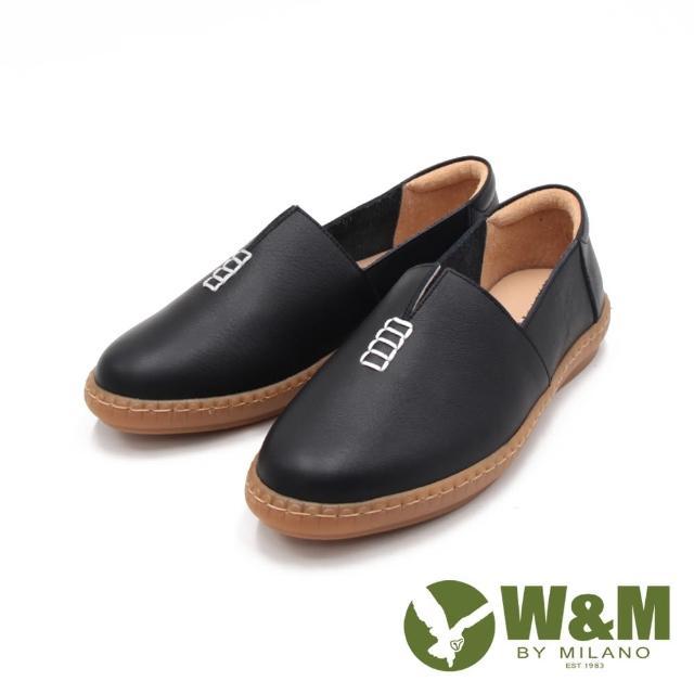 【W&M】女 小切口縫線懶人休閒 莫卡辛女鞋(黑)