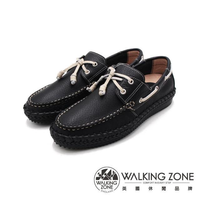 【WALKING ZONE】男 車縫造型帆船 男鞋(黑)