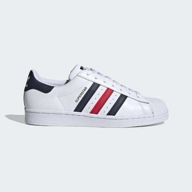 【adidas 愛迪達】休閒鞋 男鞋 女鞋 貝殼鞋 運動鞋 三葉草 SUPERSTAR 白藍紅 FX2328