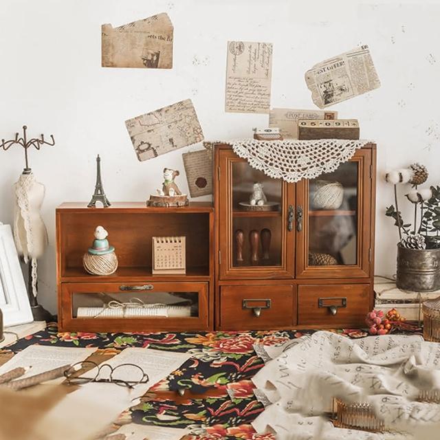 【慢慢家居】復古實木玻璃桌面收納櫃 超值組 展示櫃 置物櫃(雙開櫃*1+一格一抽*1)