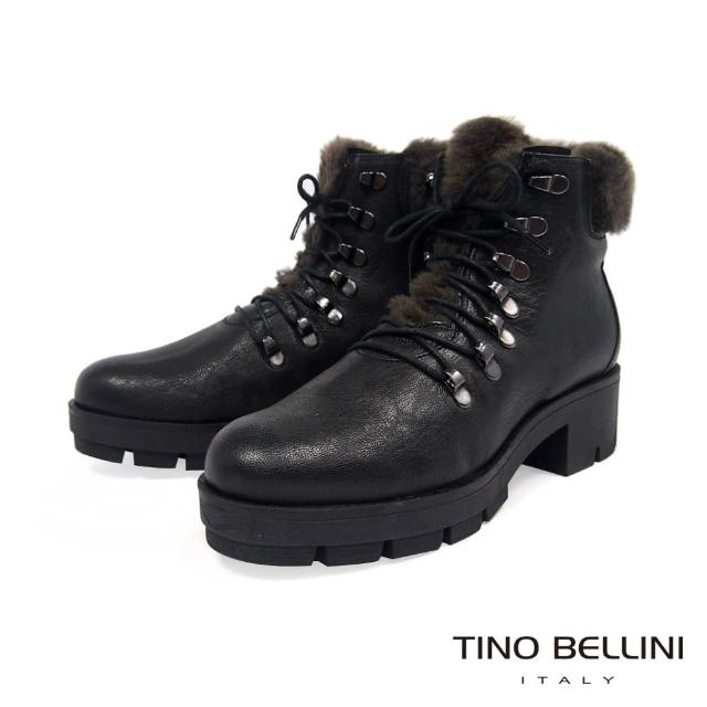 【TINO BELLINI 貝里尼】英姿暖心毛料綁帶厚底中跟靴TF8545(鐵灰)