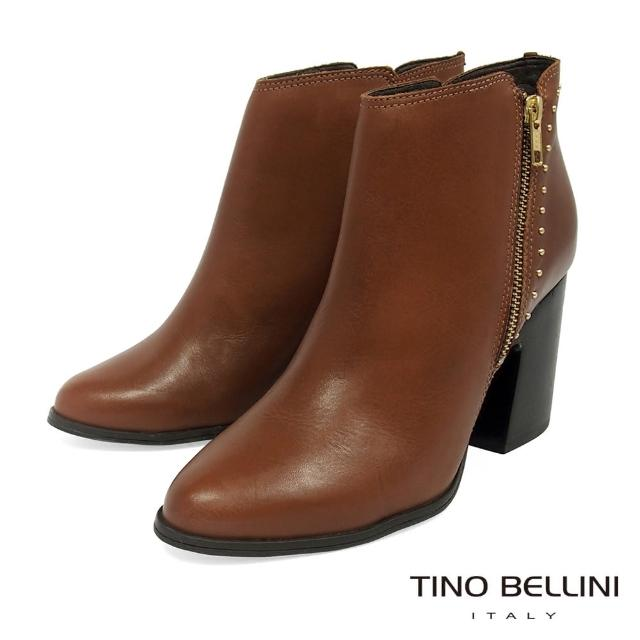 【TINO BELLINI 貝里尼】巴西進口都會摩登金屬圓飾粗跟踝靴VI8514(咖)