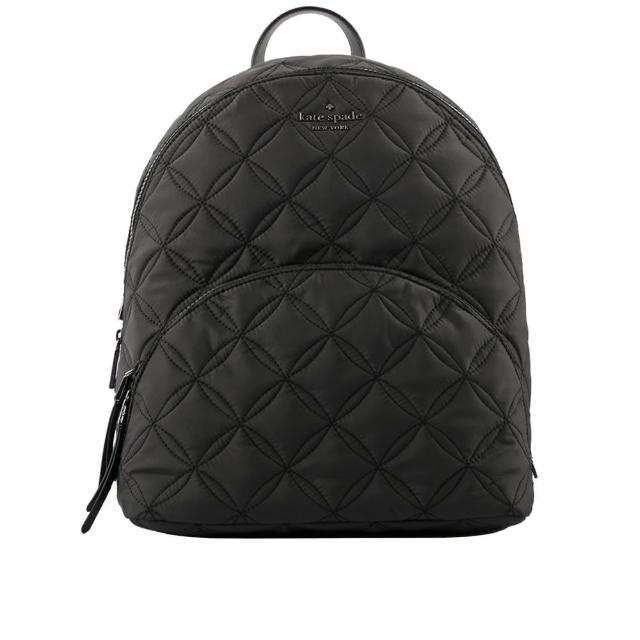 【KATE SPADE】Karissa 菱格紋尼龍大款口袋後背包(黑色)