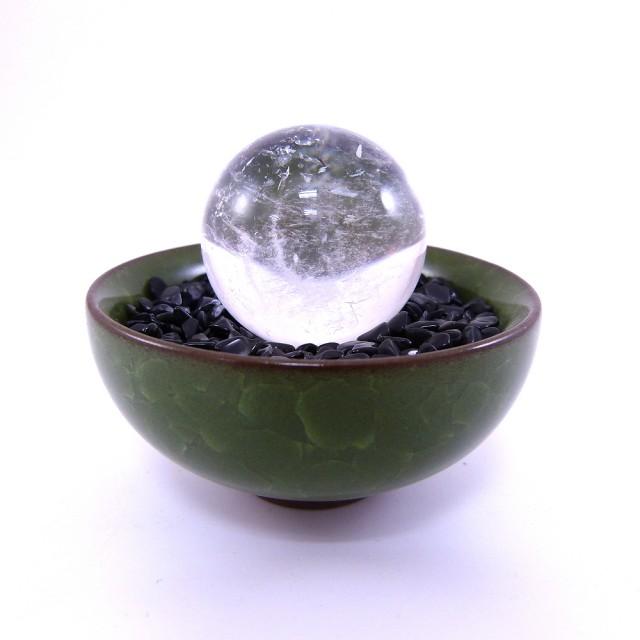 【寶峻晶石館】白水晶球碎石聚寶盆(黑曜石碎石)