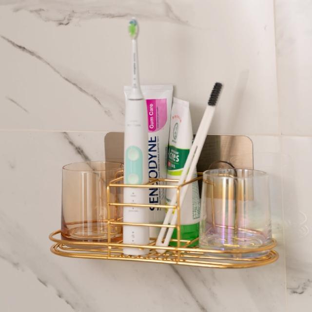 【帕斯特收納生活】輕奢金邊玻璃漱口杯 牙刷置物架 電動牙刷架 漱口杯架(附無痕膠)