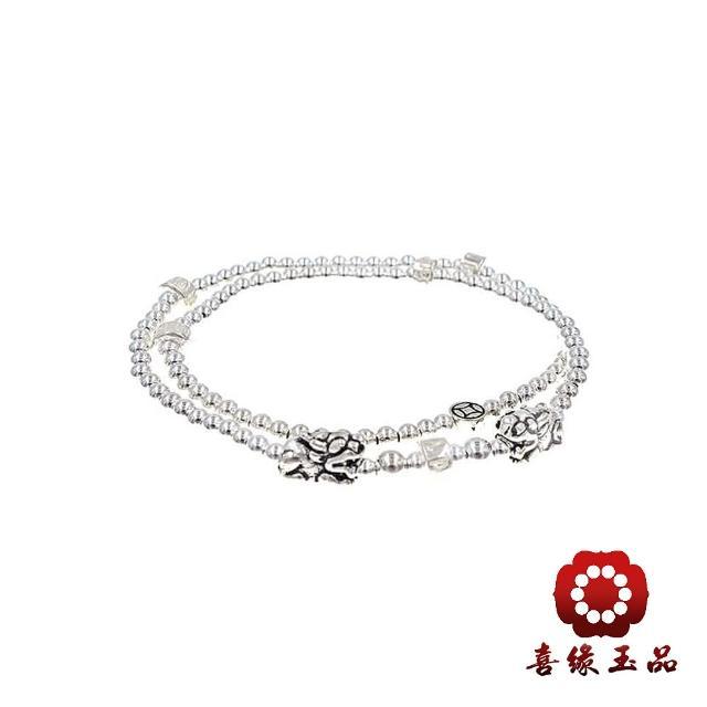 【喜緣玉品】雙銀貔貅108念珠(925純銀)